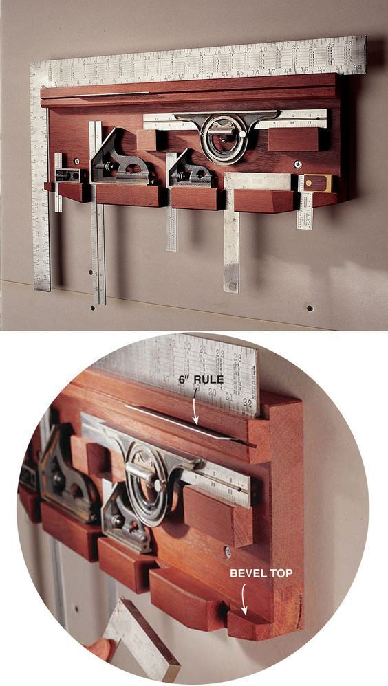 Storage for squares :: Tool Storage Projects http://popularwoodworking.com/projects/aw-extra-62812-tips-for-tool-storage #woodworkingtips
