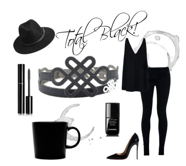 """Promise - Total Black"" by krilajewels on Polyvore featuring moda, Christian Louboutin, NIKE, BeckSöndergaard, STELLA McCARTNEY, Chanel e iittala"