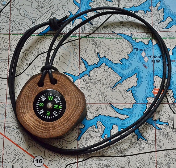 Compass and natural oak tree branch  Perfect by WoodenTreasures, $9.99