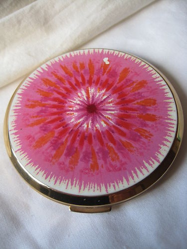 Vintage Mirrored Powder Compact Stratton England Pink Enamel ? Brass / Goldtone | eBay