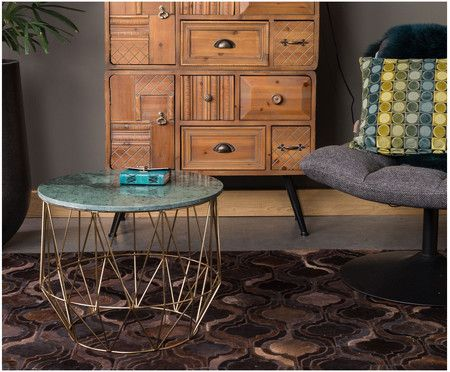 Marmor-Couchtisch Boss, Tischplatte: Grün, marmoriert Beine: Messing