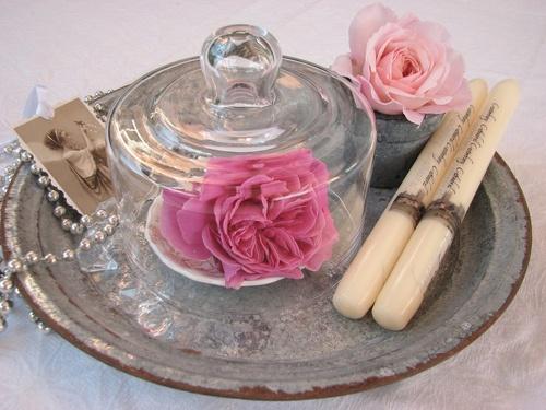 pretty nostalgic ephemera, roses, candles, silver