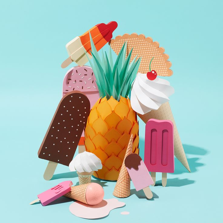 We made these paper-crafted summery ice popsicles to celebrate the first days of summer.Enjoy!