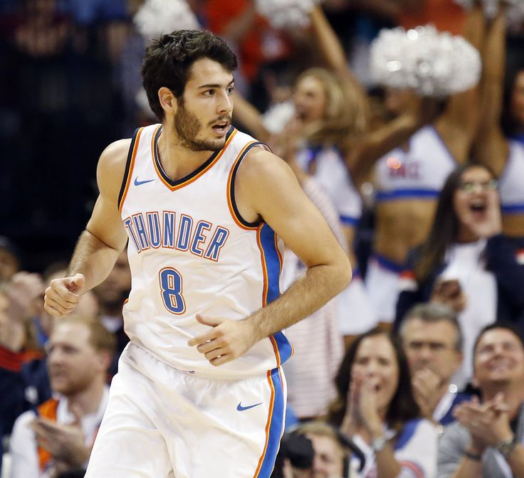 Oklahoma City's Alex Abrines (8) runs back on defense after making a basket during an NBA basketball game between the Oklahoma City Thunder and the Minnesota Timberwolves at Chesapeake Energy Arena in Oklahoma City, Sunday, Oct. 22, 2017. Minnesota won 115-113. Photo by Nate Billings, The Oklahoman