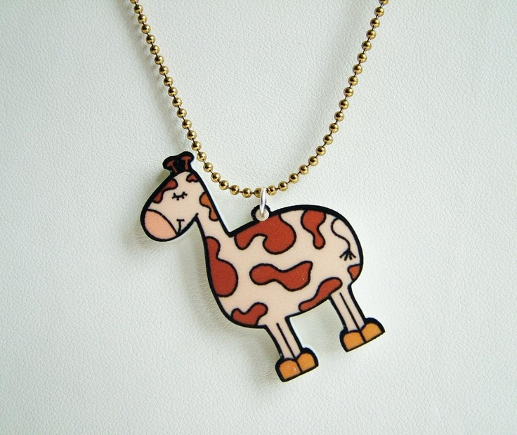 "I need a ""for steph"" board! @Stephanie Syrett this one's for you!!! Cute Giraffe Acrylic Necklace, $14"