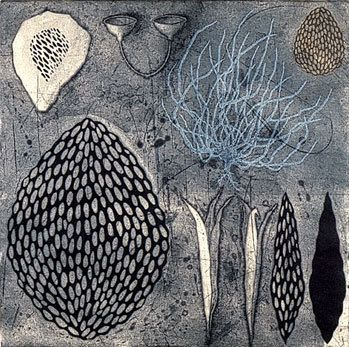 Night Swimming II etching, drypoint, mezzotint, by Tanja Softic