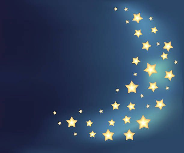 Background with a moon made of shiny cartoon stars vector art illustration