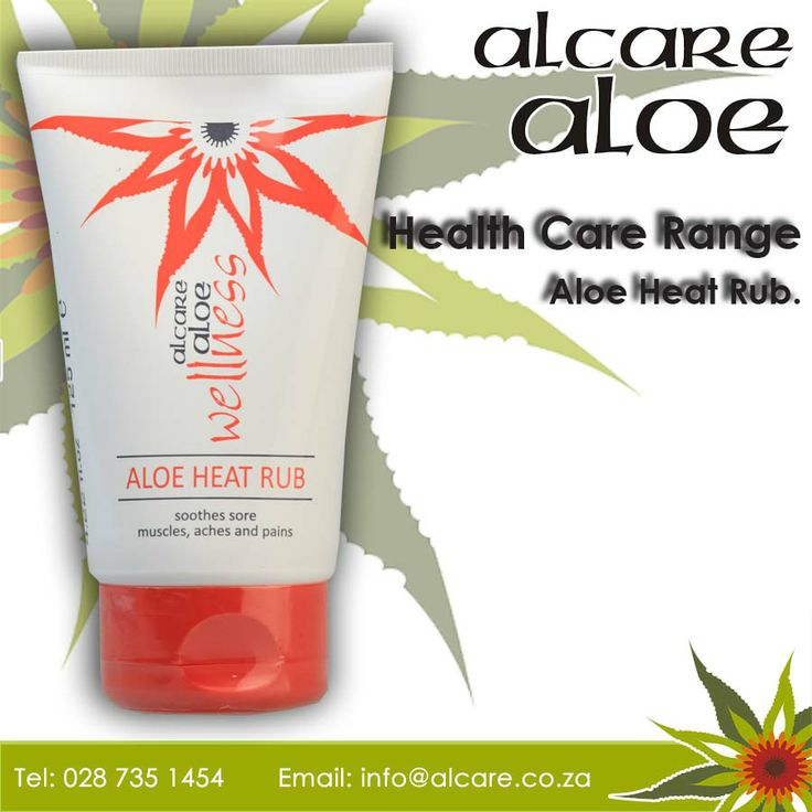 Aloe Heat Rub. Aloe and Methyl Salicylate provide symptomatic relief from pain associated with muscle stiffness, strains and sprains, rheumatism, fibrositis, backache, lumbago and muscular cramps. Best quality cosmetic ingredients combined with substantial amounts of the soothing, rejuvenating and pH-balancing extracts of the Aloe ferox. Order online: http://on.fb.me/1fJVdeb #health #aloe #heatrub