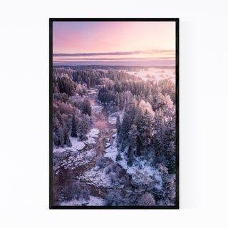 Noir Gallery Snow Winter Forest River Finland Framed Art Print (11 x 14 – White)