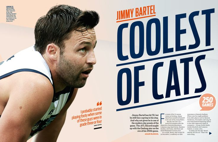 AFL Record Magazine Spread. Geelong Cats Jimmy Bartel 250 games.