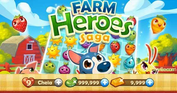 hack cheat Jogo Farm Heroes Saga, Feijões Mágicos infinitos, Barras de Ouro Infinitas, 5 jogadas extras, trator, Pá, rolo compressor, +1, Cachorro ladrão, Batedor de ovo ilimitados.