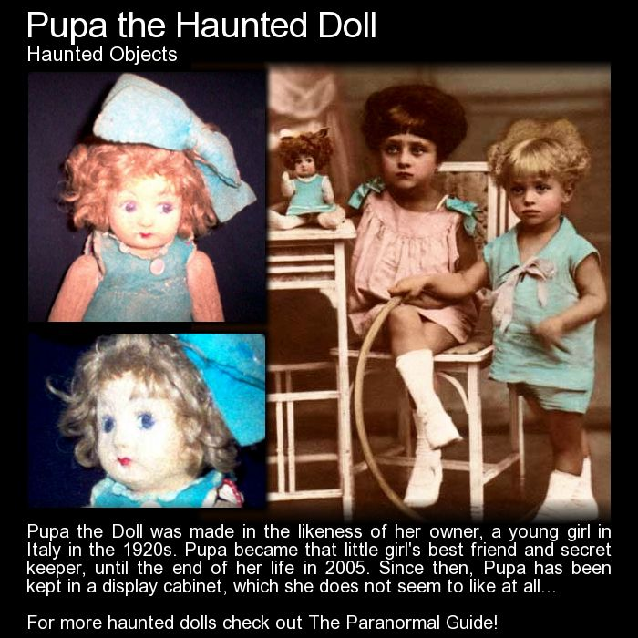 "Pupa the Haunted Doll. ""One day the glass cabinet looked to be quite filthy, so someone set to cleaning it. They opened it up, exhaled warm air on the glass to fog it over, to see the marks more clearly, and they were shocked to find the words 'Pupa hate' written... on the inside of the cabinet..."" Read more here: http://www.theparanormalguide.com/blog/pupa-the-haunted-doll"