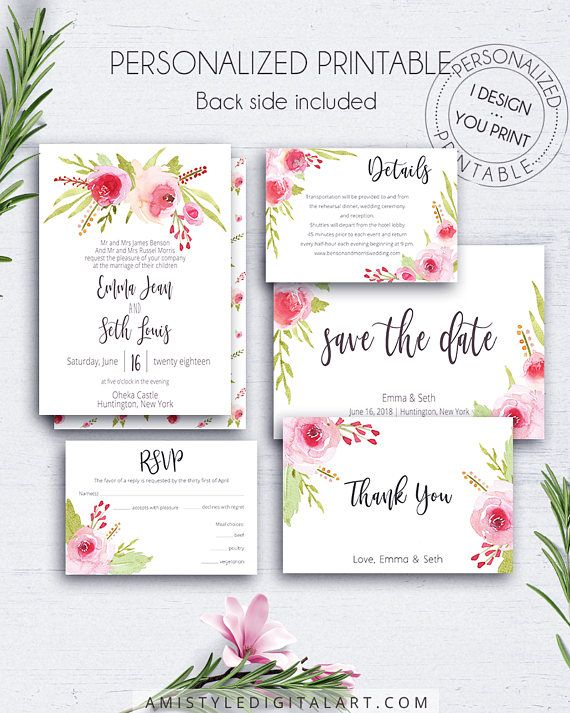 Rose Printable Invitation Wedding Set, with stylish and beautiful watercolor rose elements.Printable digital file customized with your wedding information.Build your suite - choose your card combination - by Amistyle Digital Art on Etsy