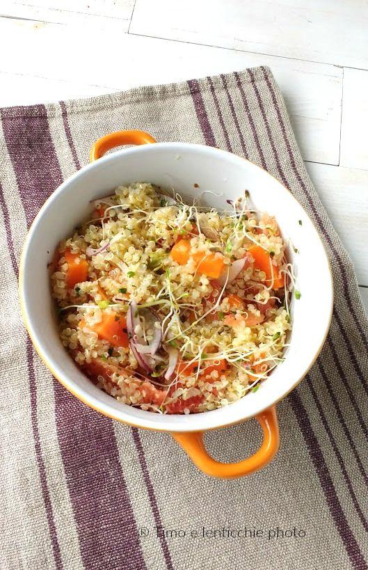 Insalata di quinoa con carote pompelmo e germogli 1
