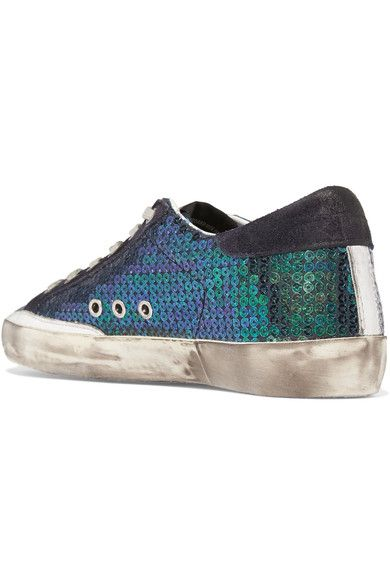 Golden Goose Deluxe Brand - Super Star Distressed Suede-trimmed Sequined Canvas Sneakers - Green