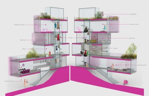 Barbie's dream house....winner of the AIA contest. Too bad it will never be produced!