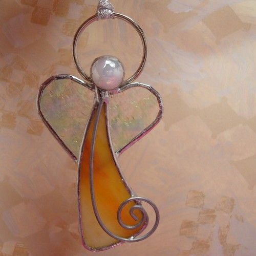 stained glass ornaments | Love Angel, Stained Glass Ornament | L-A-Glass - Glass on ArtFire