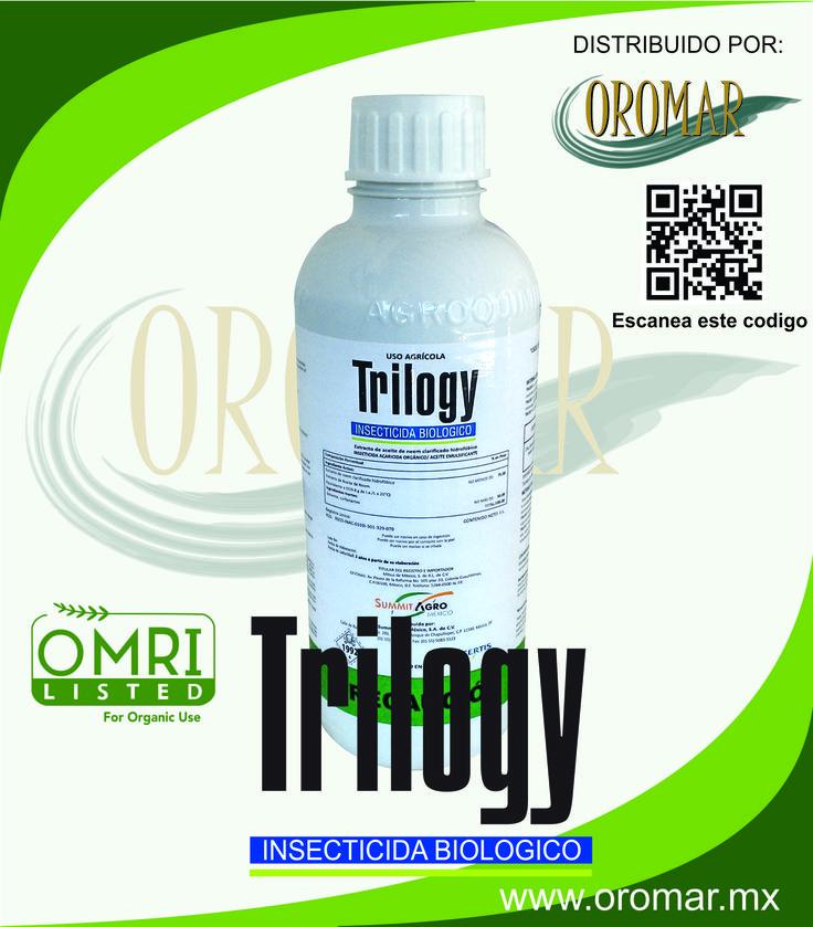 TRILOGY TRILOGY® es un acaricida que actúa por contacto para el control de ácaro blanco que se indica en el cuadro de recomendaciones. El ingrediente activo de TRILOGY® es extracto de aceite de Neem clarificado hidrofóbico. Ingrediente Activo: Extracto de aceite de Neem clarificado hidrofóbico, extracto de aceite de Neem, no menos de: 70.00%, (Equivalente a 639.8 g de I.A./L). Composición: Solventes, surfactantes, no más de: 30.00%, Total: 100.00%. Presentación: Aceite emulsificable.