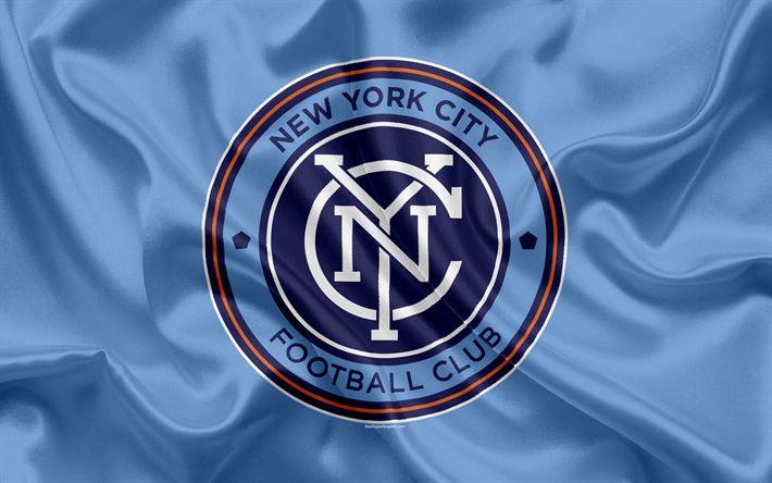 Download wallpapers New York City FC, American Football Club, MLS, USA, Major League Soccer, emblem, logo, silk flag, New York, football