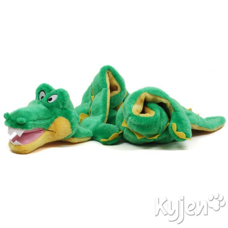 【プープー鳴ってパンクしない】kyjenたっぷり笛入りワニマット Kyen Ginormous Gator Squeaker Mat・小型犬から超大型犬全てに!巨大で長〜いワニのおもちゃ。…