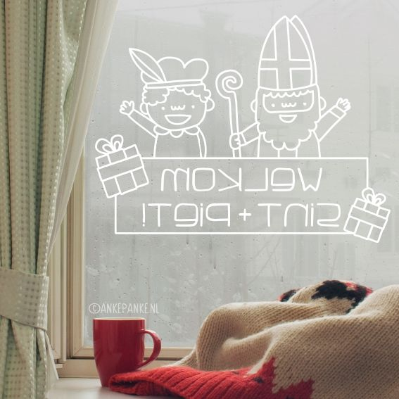 Happy sinterklaas and piet with gifts #windowdrawing with 'Welcome' (Dutch) text to draw on your window around the 5th december. #raamtekening