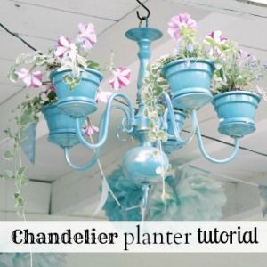 chandelier-planter-feature -- what a fun addition to a backyard or any outdoor space