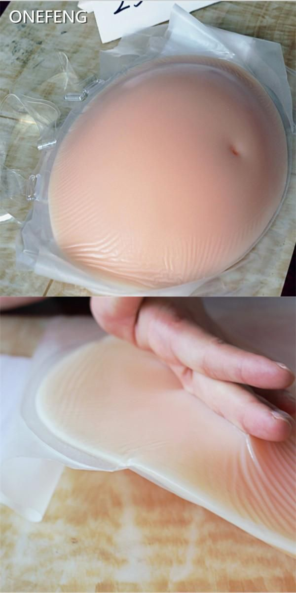 [Visit to Buy] 4-5Monthe Silicone Fake Pregnant Belly  1500g Adhesive Backside False Aritficial Stomach for Crossdresser Halloween Toy #Advertisement