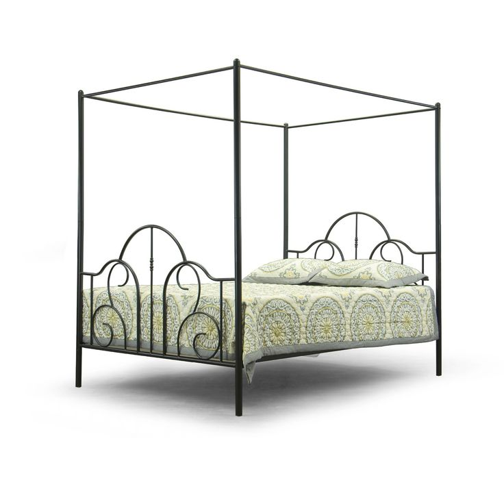 baxton studio monticello metal contemporary queen size canopy bed frame by baxton studio