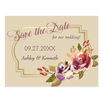 Copper Bronze Roses Save the Date Wedding Postcard - rose style gifts diy customize special roses flowers