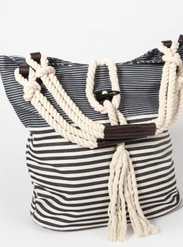 sac de plage marin rayé cordelette