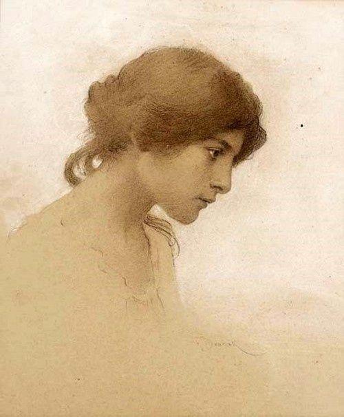 'Head of a Girl' - by Frantsek Dvorak (1862-1927)