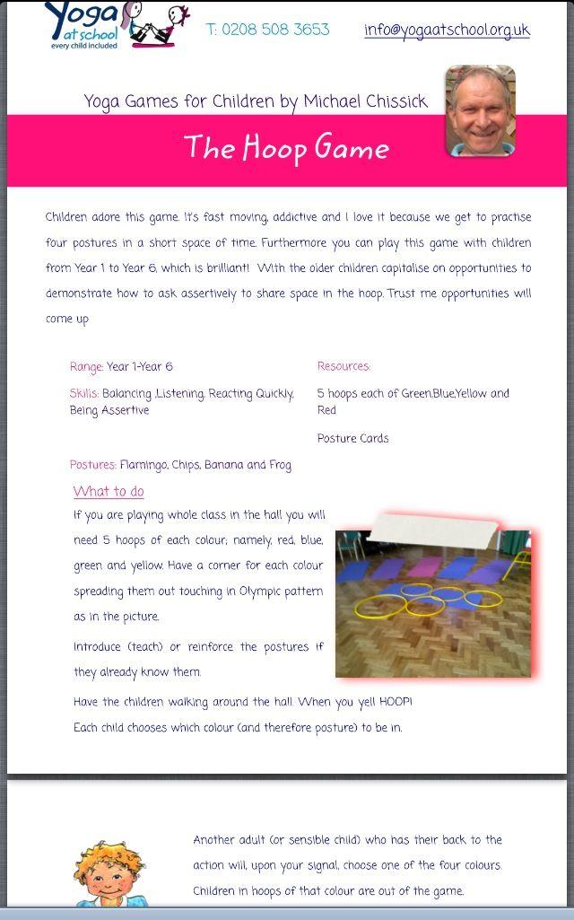 Free yoga game idea from Yoga For Children At School: http://www.yogaatschool.org.uk/pdf/1374483862Hoop%20Game.pdf