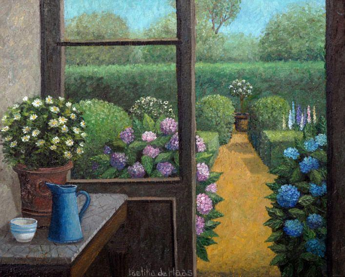 Tuin met hortensia's - schilderij
