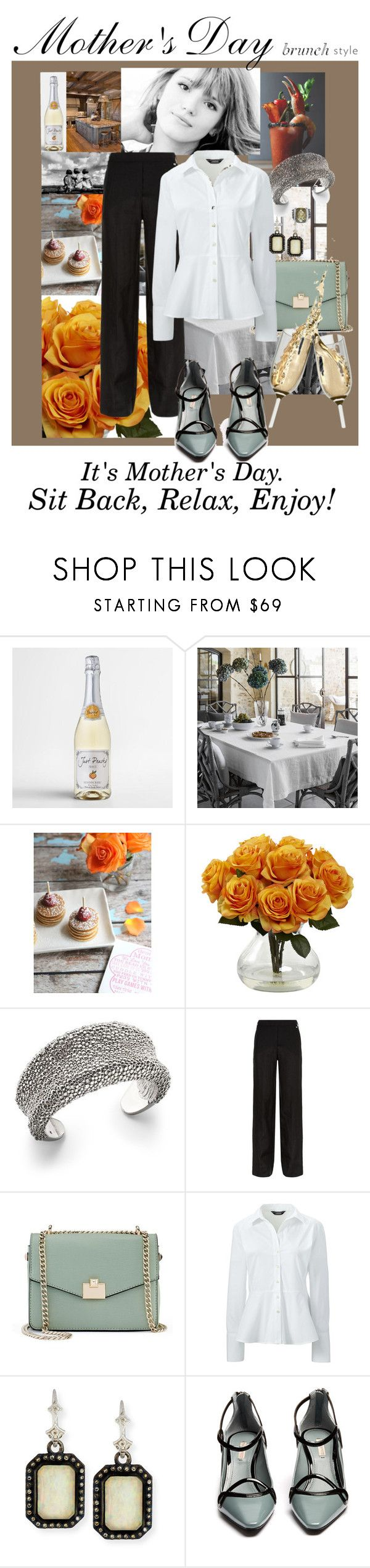 """""""Mother's Day Brunch Goals"""" by queenbeezzer ❤ liked on Polyvore featuring Just Peachy, The Linen Works, Mead, Roberto Coin, Escada Sport, Jennifer Lopez, Lands' End, Armenta, Fabrizio Viti and David Yurman"""