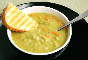 Split Pea Soup with Ham Hock - a satisfying meal very high in fiber!