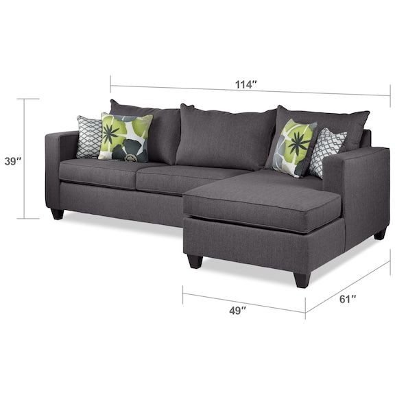 Living Room Furniture Halley 2 Piece Full Sofa Bed Sectional