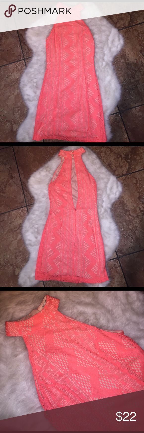 Cute Neon Orange Nude Illusion Festival Dress Keep it classy at your next Rave or Festival type party. Good for summer nights out or nightclub nights. Pretty bright Coral/ Nude Illusion. Vibrant, fun color.  Keyhole back & and short hem keeps it sexy.  High Neck keeps jt classy.  ☄️ Dresses