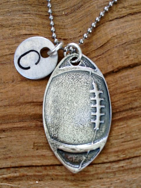 Football necklace that can be stamped with an initial or number - Perfect for a gift!