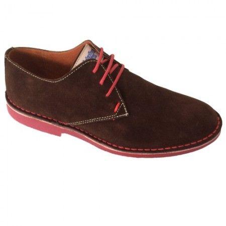Zapato marrón-rojo de hombre