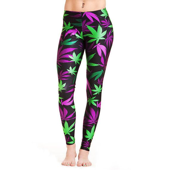 Miss Mary Jane Co. Purple and green pot leaf leggings $49.99 #LEGGINGS #DOMAINNAME StickyIckyWear.com
