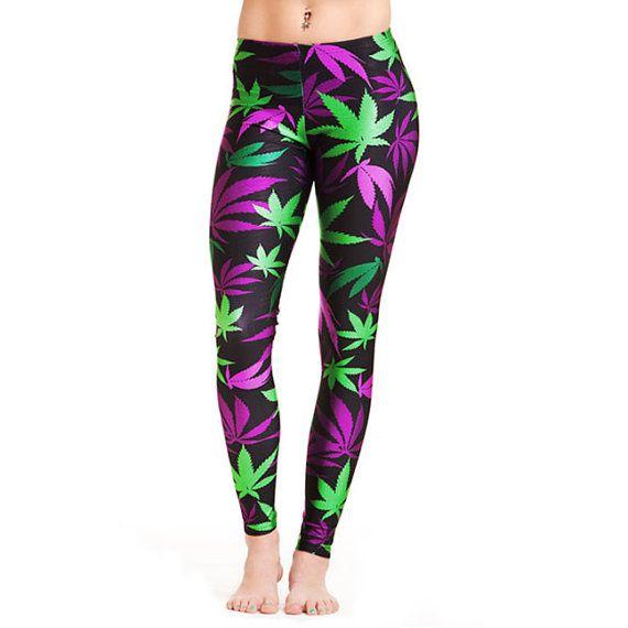 Miss Mary Jane Co. Purple and green pot leaf leggings $49.99 #LEGGINGS #DOMAINNAME StickyIckyWear.com