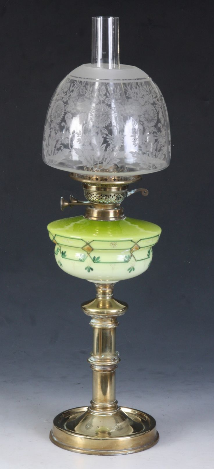 A Good Victorian Beehive Clear Glass Oil Lamp
