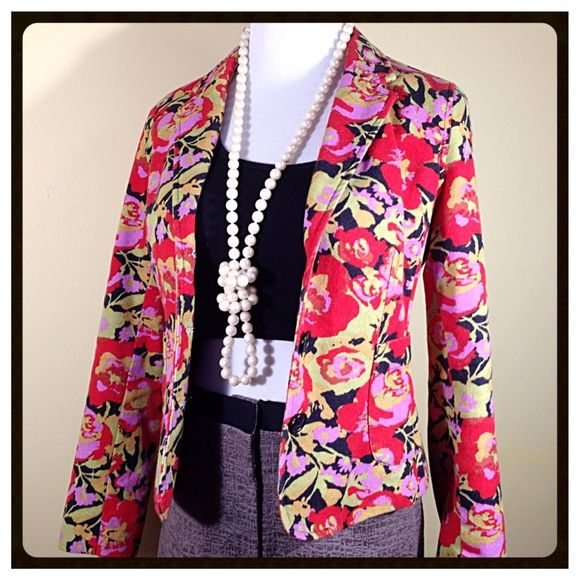 Isaac Mizrahi Amazing Floral Tapestry Blazer Isaac Mizrahi for Target  Amazing Floral Tapestry Blazer Thick denim weight fully lined in great shape. I'm selling to buy this in a Large I love this so much! Looks super cute with jeans or with skirts anywhere you want people to tell you how nice you look and ask you where you got that Awesome Blazer Isaac Mizrahi Jackets & Coats Blazers