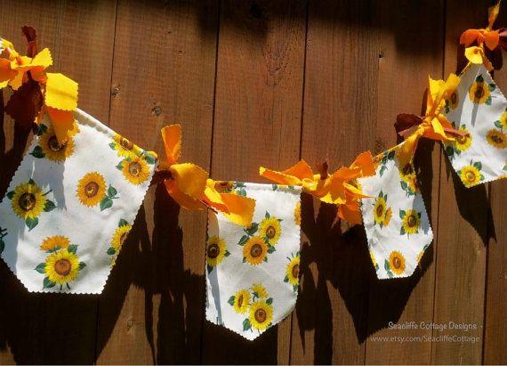 Sunflower Garland Autumn Rag Tie Garland Fall by SeacliffeCottage #sunflowerwedding