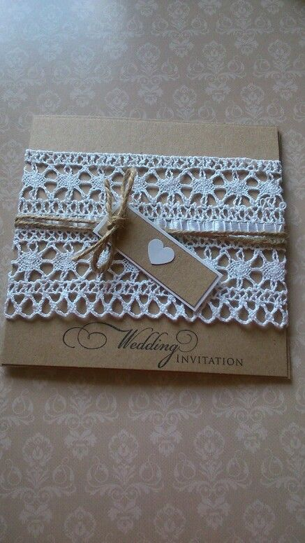 Rustic Wedding invitation made using kraftcard, cotton lace and twine