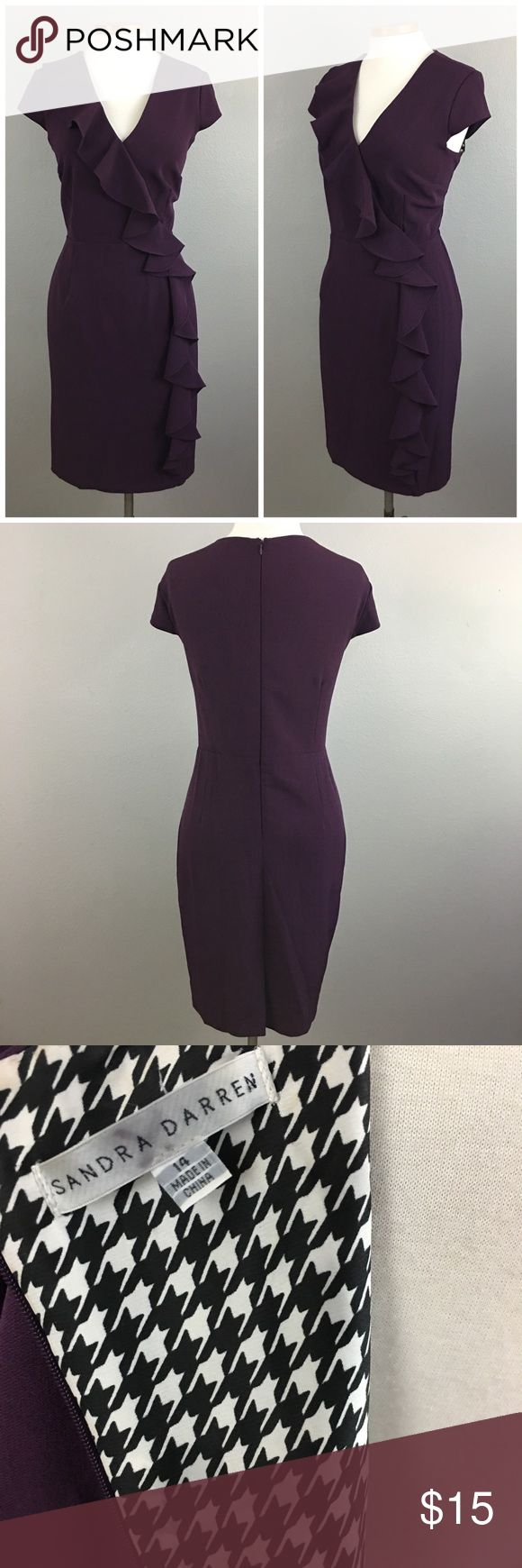 """Sandra Darren Deep Purple Ruffle Midi Dress Sandra Darren Deep Purple Ruffle Midi Dress. Size 14 with stretch. Perfect for work. Thank you for looking at my listing. Please feel free to comment with any questions (no trades/modeling).  •Bust: 44"""" •Length: 37"""" •Condition:  EUC, no visible flaws   25% off all Bundles or 3+ items! Reasonable offers welcome. IC Sandra Darren Dresses Midi"""