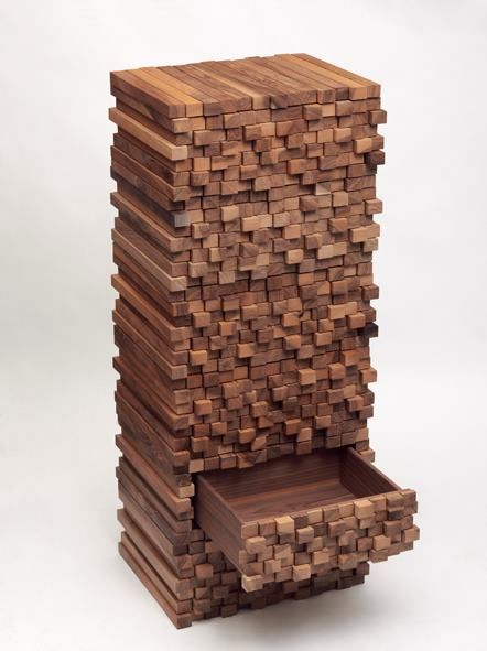 Wooden Heap by Boris Dennler (Switzerland), 2012. This transformable piece of furniture is composed of six identical drawer units which can be stacked in various configurations. The form recalls 18th and 19th century six-drawer cabinets called chiffoniers, while still being resolutely contemporary.