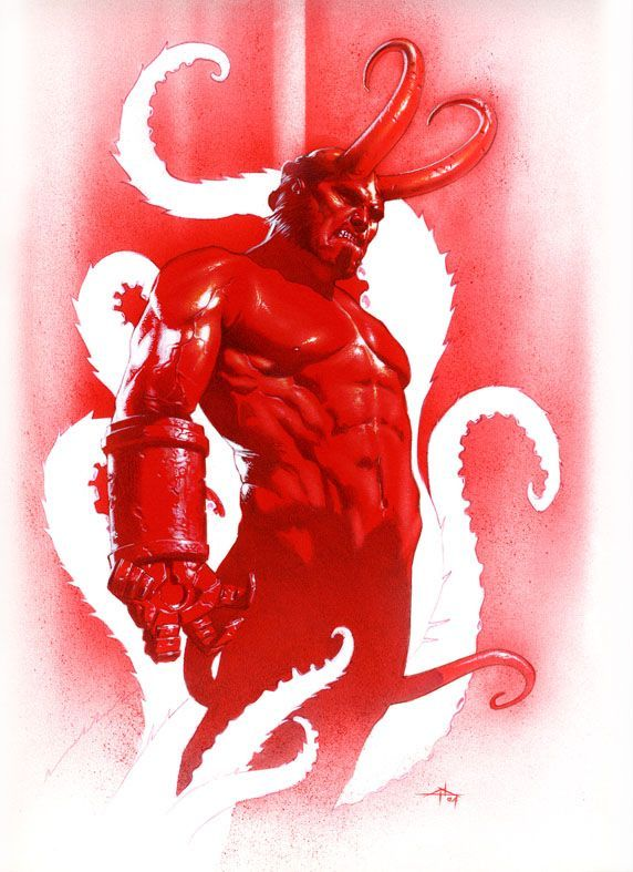 Hellboy with horns by Gabriele Dell'Otto
