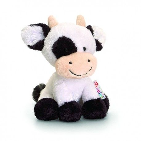 "Peluche vache ""Pippins"" 14 cm blanc / Knuffel koe ""Pippins"" 14 cm wit / Plush cow ""Pippins"" 14 cm white ***Babitoudou***"