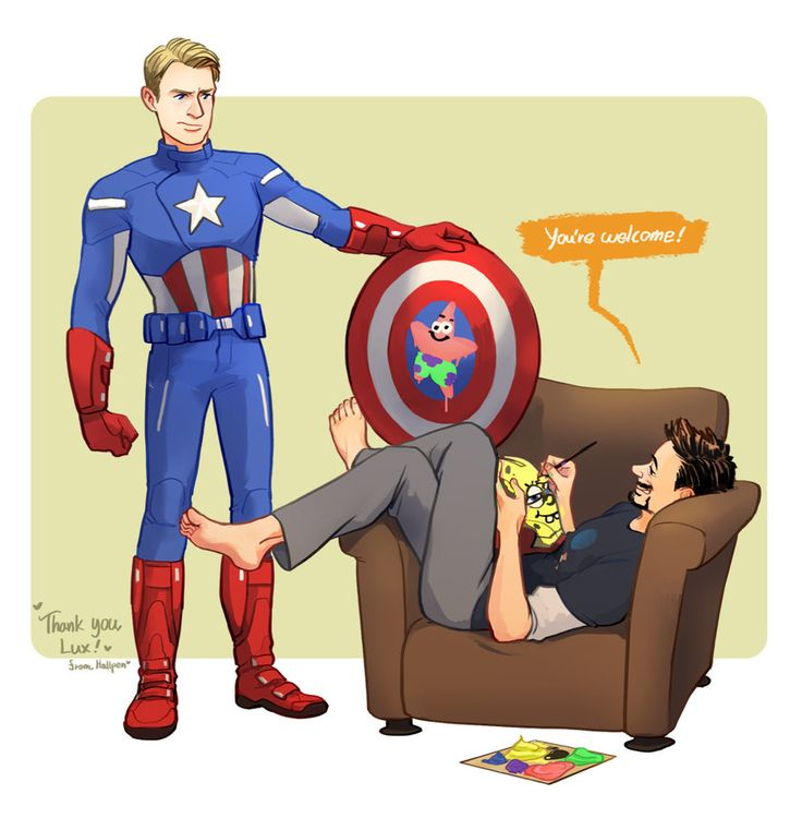 Captain America is less than impressed by Tony Stark's artistic contributions to his shield.